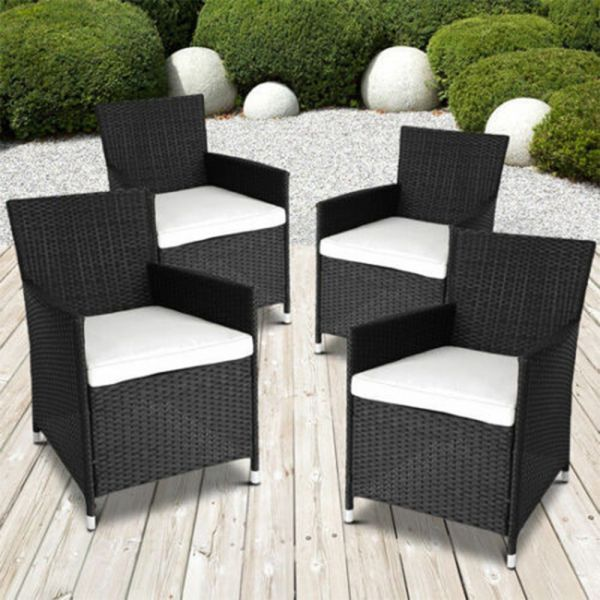 Set of 4 Rattan Garden Chairs - 3 Colours