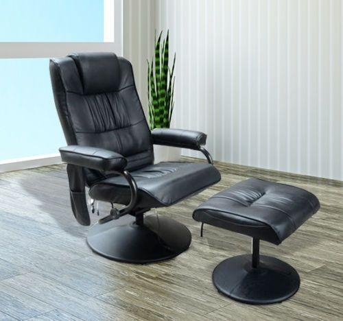 Homcom Ergonomic Faux Leather Recliner Massage Armchair - Black or Cream