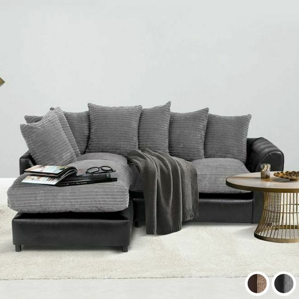 Harvey Cord Fabric Corner Sofa - Black or Brown