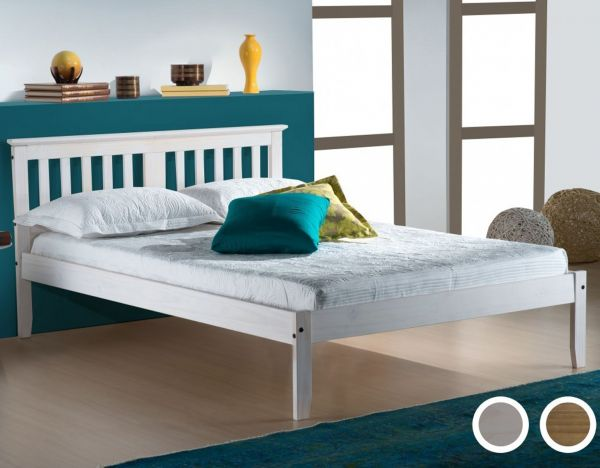 Birlea Salvador Waxed Pine or White Bed Frame