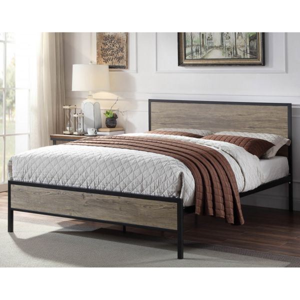 Salisbury Industrial Rustic Black Metal & Wooden Bed Frame - 2 Sizes