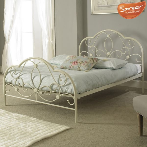 Sareer Alexis White Metal Bed - Single, Small Double or Double