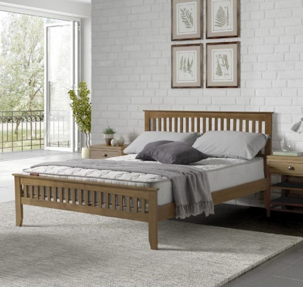 Sareer Sandhurst Oak Wood Bed - Single, Small Double, Double or King