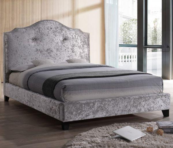 Sareer Savannah Silver Crushed Velvet Bed - King