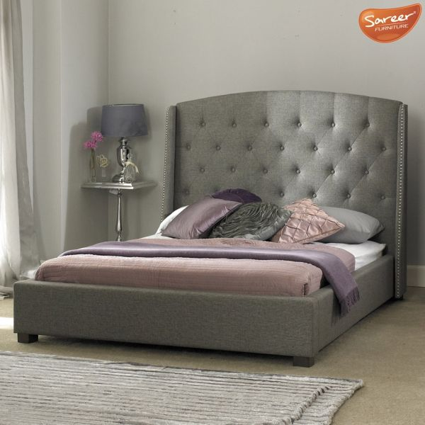 Sareer Signature Grey Fabric Bed - Double or King