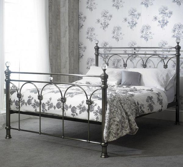 Sareer Sonita Brushed Nickel Metal Bed - Double or King