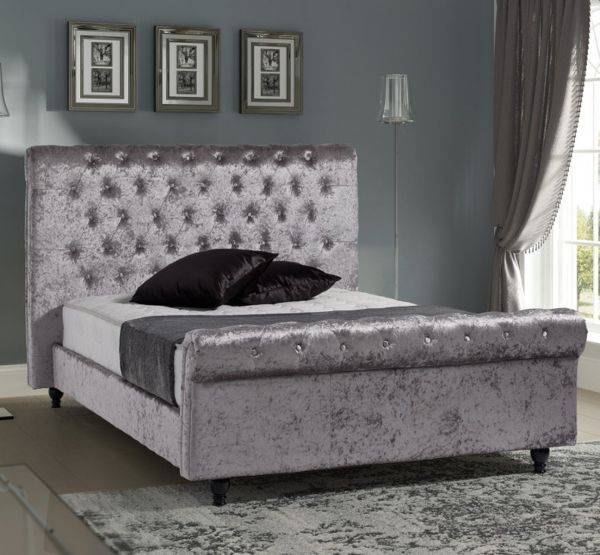 Sareer Stella Pewter Crushed Velvet Fabric Bed - Double or King