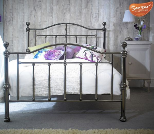 Sareer Victoria Black Nickel Metal Bed - Double or King