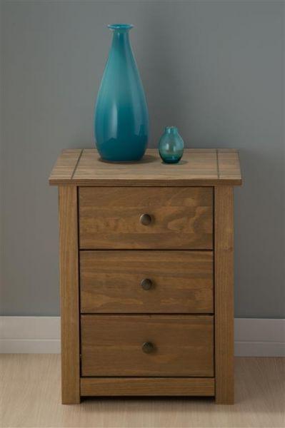 Birlea Santiago Distressed Pine 3 Drawer Bedside Table