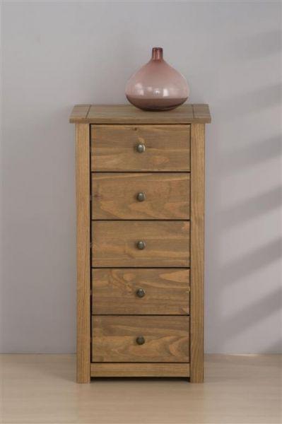 Birlea Santiago Distressed Pine 5 Drawer Bedroom Chest