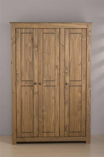 Birlea Santiago Distressed Pine 3 Door Wardrobe