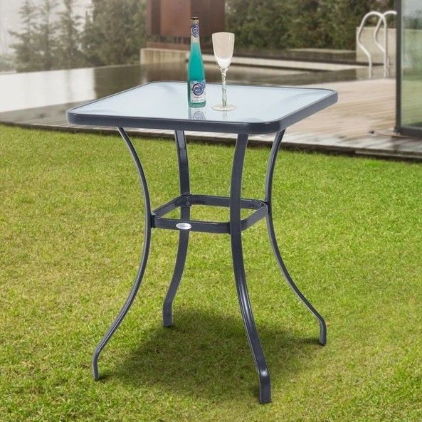 Outsunny Square Glass Bistro Table