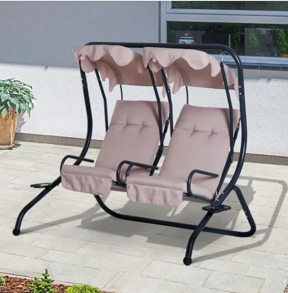 Outsunny 2-Seater Beige Swing Chair