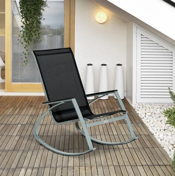 Outsunny Black and Silver Rocking Chair