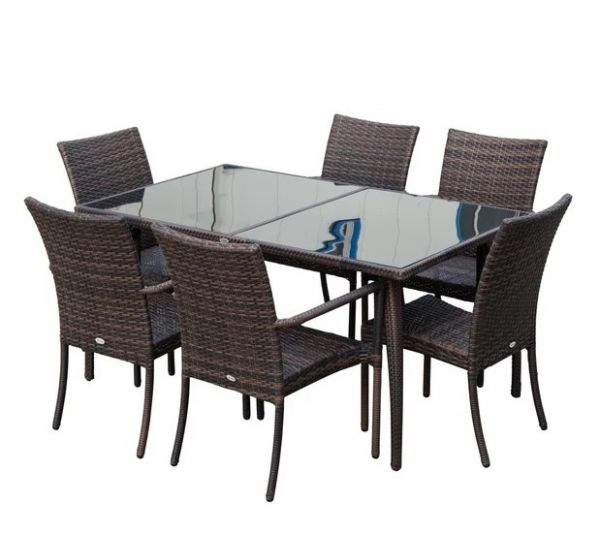 Outsunny Rattan Dining Set - Brown/Cream White