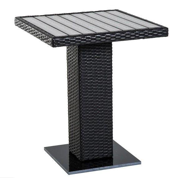 Outsunny Pedestal Rattan Table - Brown/Grey