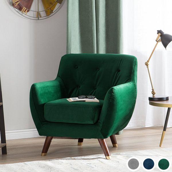 Boodo Velvet Armchair - Grey, Green or Blue