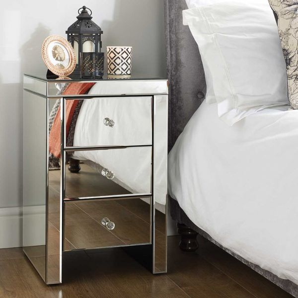 Birlea Seville Mirrored 3-Drawer Bedside Table