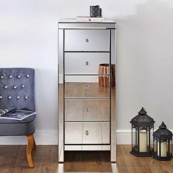 Birlea Seville Mirrored 5-Drawer Narrow Storage Chest