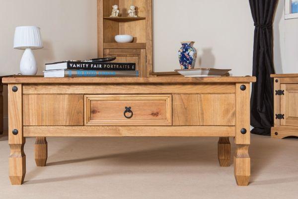 Corona Waxed Pine 1-Drawer Coffee Table - Pine or Grey