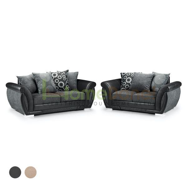 Sharine Fabric Sofa Set with 2 and 3 Seater - Black/Grey