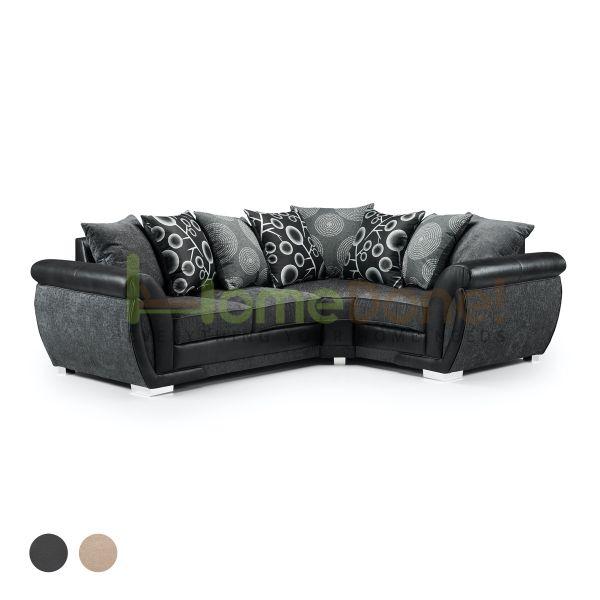 Sharine Fabric Corner Sofa - Black/Grey