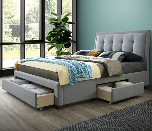 Birlea Shelby Grey 3-Drawer Bed - Double or King