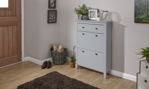 Deluxe 2-Tier Shoe Storage Cabinet - White or Grey