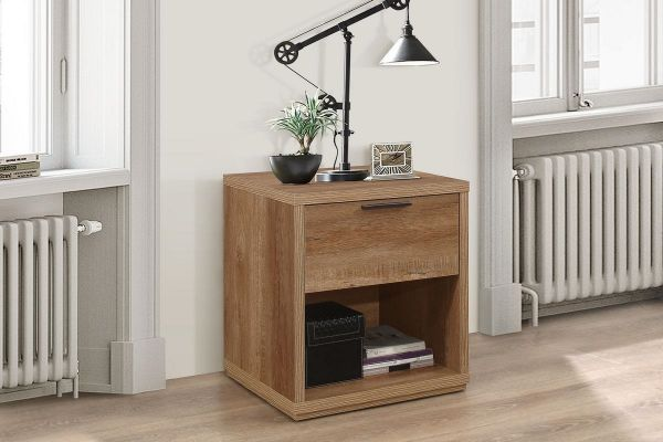 Birlea Stockwell 1-Drawer Bedside Table - Rustic Oak