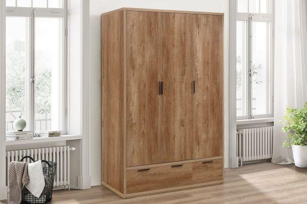 Birlea Stockwell 3-Door 2-Drawer Wardrobe - Rustic Oak