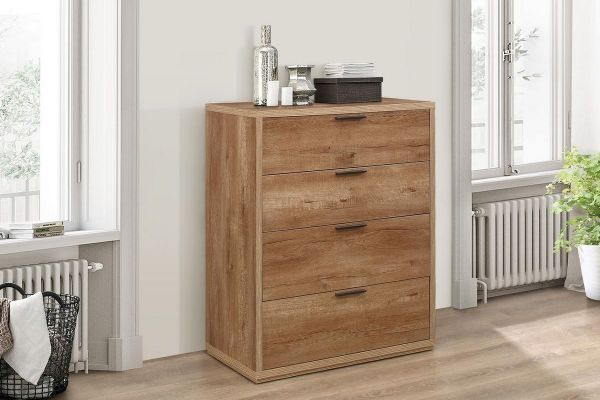 Birlea Stockwell 4-Drawer Storage Chest - Rustic Oak