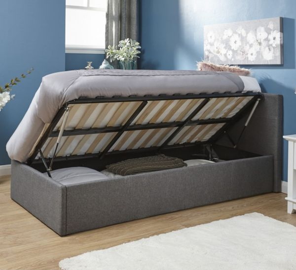 Grey Fabric Side Lift Ottoman Storage Bed - 4 Sizes