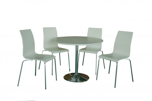 LPD Soho Bentwood Dining Table & Chairs Set - White