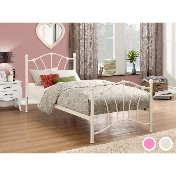 Birlea Sophia 90cm Single Cream or Pink Metal Bed