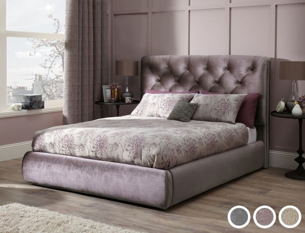 Alexandra Luxury Fabric Bed - 3 Sizes - Gold, Lilac or Steel