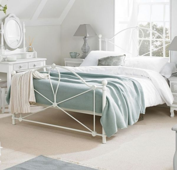 LPD Bronte White Metal Bed Frame - Single, Double or King