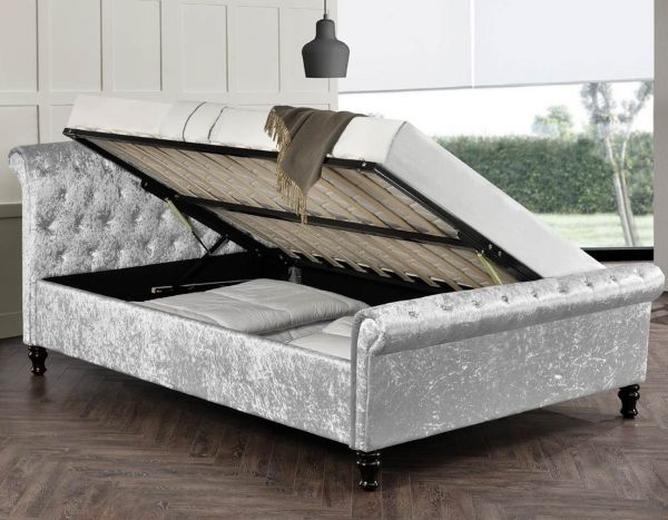 St. James Silver Crushed Velvet Ottoman Bed - King