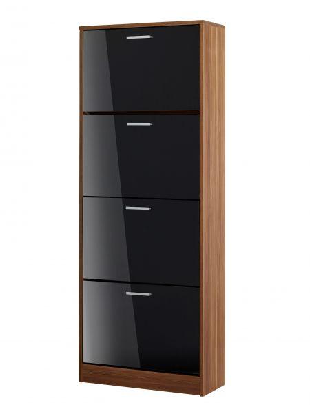 LPD Strand Walnut 4 Door Shoe Cabinet - Black, Grey or White