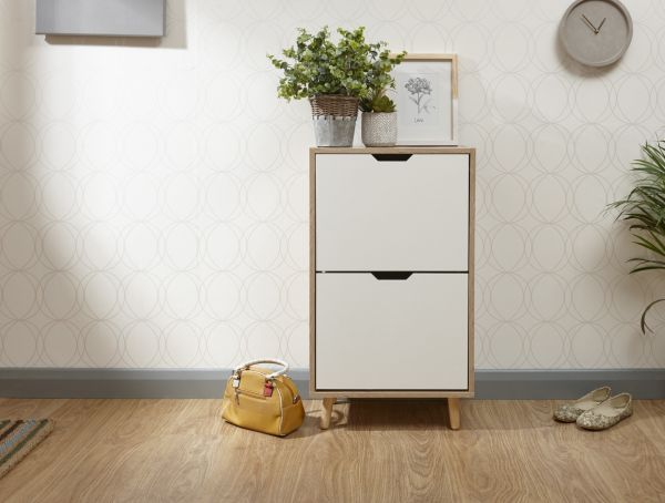Stockholm 2-Tier Shoe Storage Cabinet - White Oak