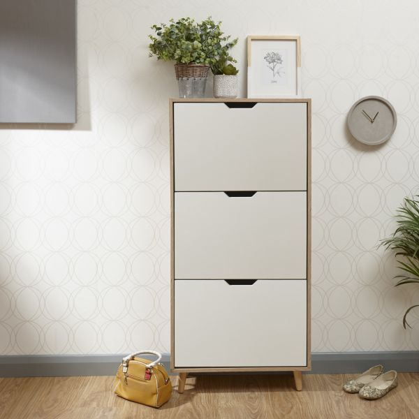 Stockholm 3-Tier Shoe Storage Cabinet - White Oak