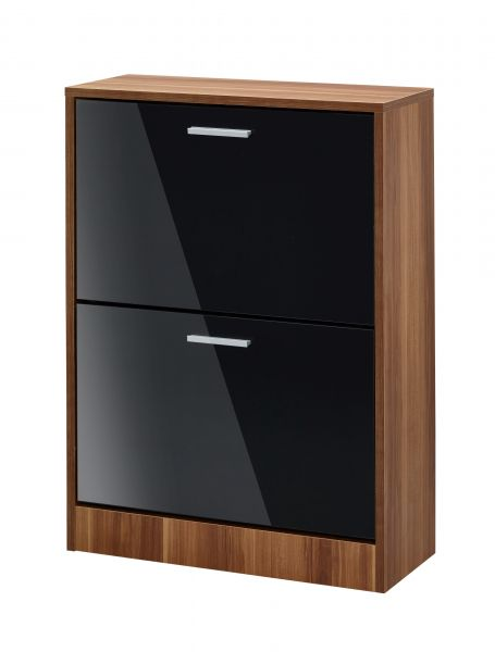 LPD Strand Walnut 2 Door Shoe Cabinet - Black, Grey or White