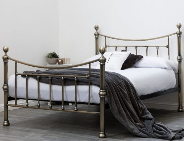 Stratford Antique Brass Metal Bed - Double