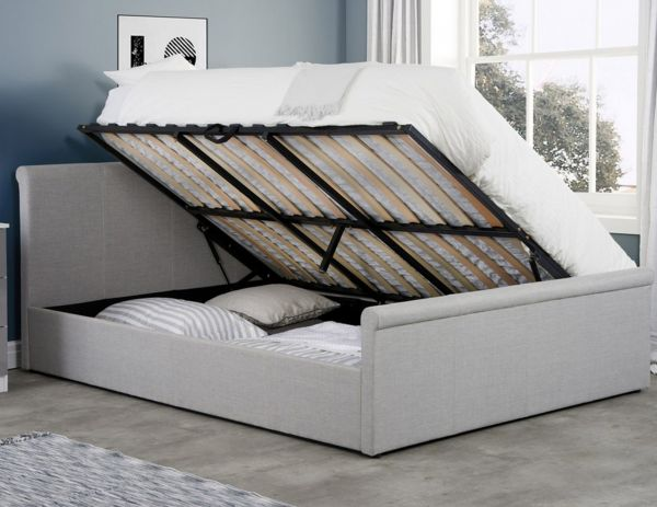 Birlea Stratus Grey Fabric Ottoman Bed - 3 Sizes