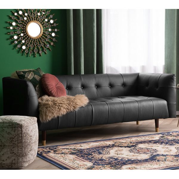 Bisk Faux Leather Sofa 3 Seater - Black or Brown