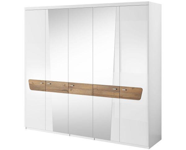 Morris 5-Door Mirrored Wardrobe - White Gloss