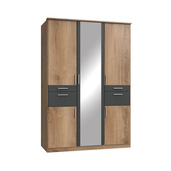 Kodera 3 Door and 4 Drawer Mirrored Wardrobe - Oak