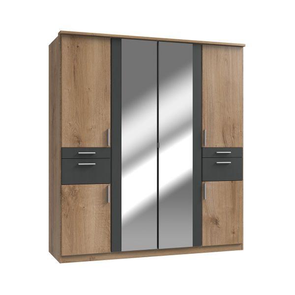 Kodera 4 Door and 4 Drawer Mirrored Wardrobe - Oak
