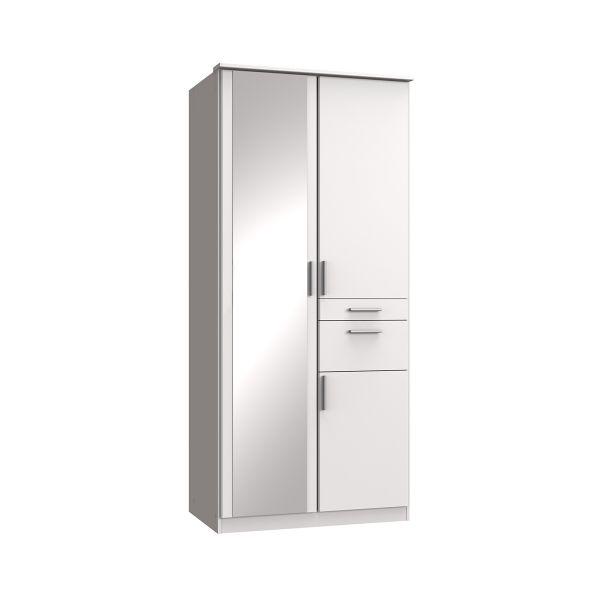 Kodera 2 Door and 2 Drawer Mirrored Wardrobe - White