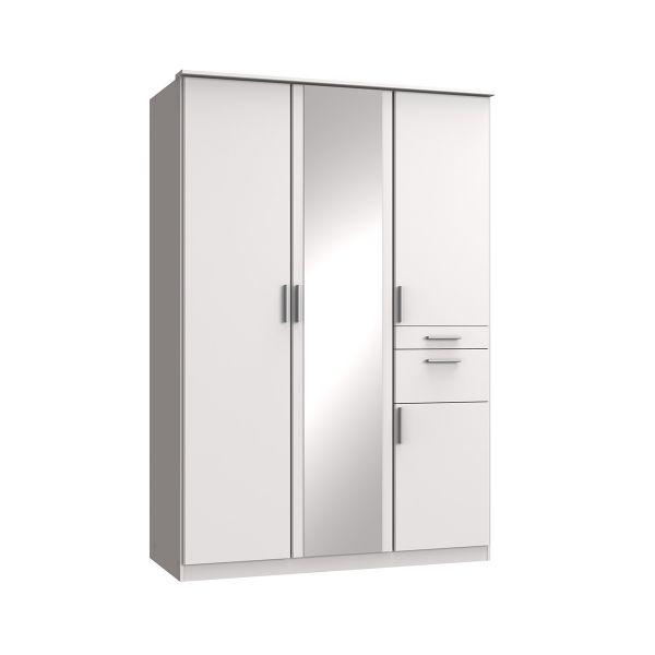 Kodera 3 Door and 2 Drawer Mirrored Wardrobe - White
