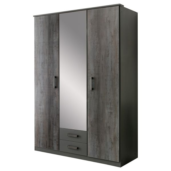 Darwin 3 Door and 2 Drawer Wardrobe - Grey